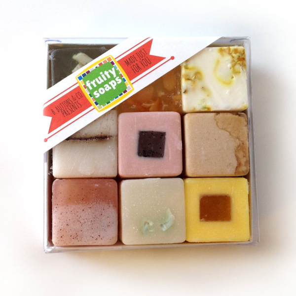 Fruity Soaps Gift Set - Unique Gift for women or men - Nine Happy Handmade Soaps in a Gift Box