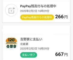 ペイペイ 266円キャッシュバック予定